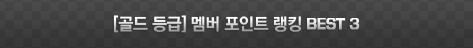 [골드 등급] 멤버 포인트 랭킹 BEST3